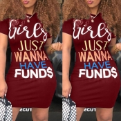 lovely Casual Letter Print Wine Red Mini Dress