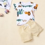 lovely Casual O Neck Print White Boy Two-piece Sho