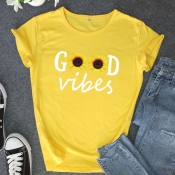 lovely Casual O Neck Print Yellow Plus Size T-shir