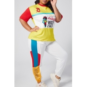 lovely Leisure Cartoon Print Multicolor Plus Size