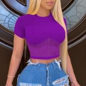 lovely Stylish O Neck Patchwork Purple Blouse
