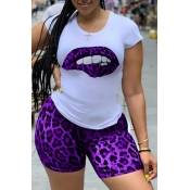 lovely Casual Print Purple Two-piece Shorts Set