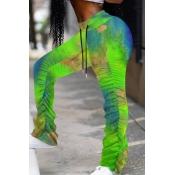 lovely Casual Tie-dye Fold Design Light Green Pant