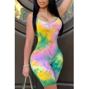 lovely Stylish Tie-dye Green One-piece Romper