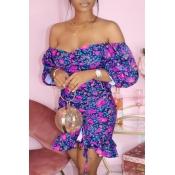 lovely Trendy Dew Shoulder Floral Print Deep Blue Mini Dress