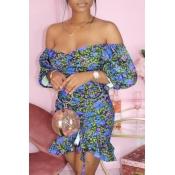lovely Trendy Dew Shoulder Floral Print Baby Blue Mini Dress
