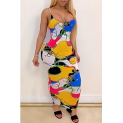 lovely Casual Print Yellow Ankle Length Dress