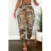 lovely Leisure Camo Print Plus Size Pants