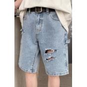 lovely Leisure Broken Holes Blue Shorts