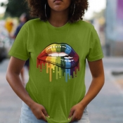 lovely Casual O Neck Lip Print Green T-shirt