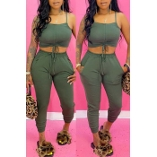 lovely Sexy Lace-up Army Green Two-piece Pants Set