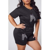 lovely Casual Print Black Plus Size Two-piece Shor