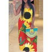 lovely Bohemian V Neck Sunflower Print Red Maxi Pl