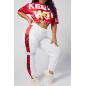 Lovely Casual Letter Print Red Plus Size Two-piece