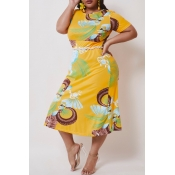 lovely Casual Print Yellow Mid Calf Plus Size Dres
