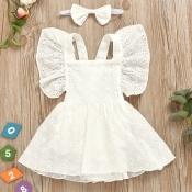 lovely Sweet Lace Fold Design White Girl Knee Leng