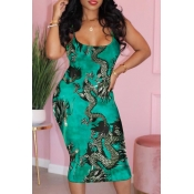 Lovely Stylish Print Green Mid Calf Plus Size Dres