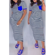 lovely Casual Striped Blue Ankle Length Dress