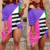 lovely Leisure Color-lump Patchwork Purple Knee Le