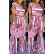 lovely Stylish Rainbow Striped Pink One-piece Jump