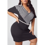 lovely Casual Striped Patchwork Black Knee Length
