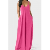 lovely Leisure Pocket Patched Pink Maxi Plus Size