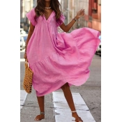 lovely Leisure Loose Fold Design Pink Ankle Length