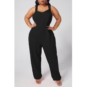 lovely Leisure Loose Black One-piece Jumpsuit