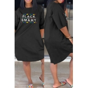 Lovely Casual Letter Black Knee Length Plus Size D