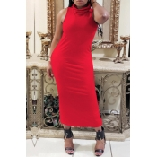 lovely Casual Basic Red Mid Calf Dress