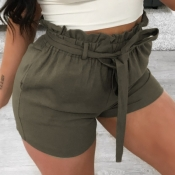 lovely Casual Lace-up Army Green Shorts