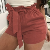 lovely Casual Lace-up Red Shorts