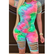 Lovely Trendy Tie Dye Hollow-out Green Two Piece Shorts Set