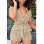 lovely Stylish Lace-up Khaki Two-piece Shorts Set