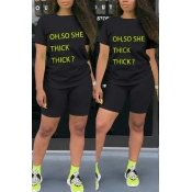 lovely Casual O Neck Letter Print Black Two-piece