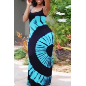 lovely Casual Print Baby Blue Maxi Plus Size Dress