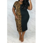 Lovely Casual Leopard Print Ankle Length Plus Size