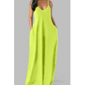 Lovely Leisure Pocket Patched Green Maxi Plus Size Dress