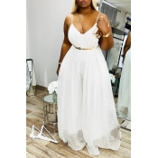 lovely Casual Loose Fold Design White Maxi Dress
