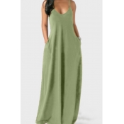 Lovely Leisure Pocket Patched Light Green Maxi Dress