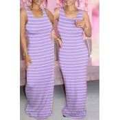 lovely Casual Striped Purple Maxi Dress