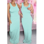 lovely Casual Striped Baby Blue Maxi Dress