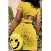 lovely Sexy Hollow-out Yellow Mini Dress