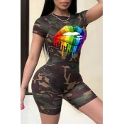 lovely Leisure O Neck Camo Print Army GreenTwo-pi