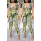 lovely Stylish Print Green Plus Size One-piece Jum