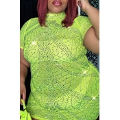 lovely Casual See-through Green Mini Plus Size Dre