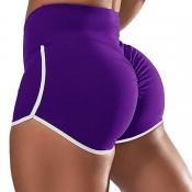 lovely Sportswear Patchwork Purple Shorts