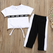 lovely Casual Letter Patchwork White Girl Two-piec