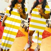 lovely Chic Striped Yellow Maxi Dress