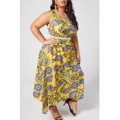 lovely Bohemian Print Yellow Ankle Length Plus Siz